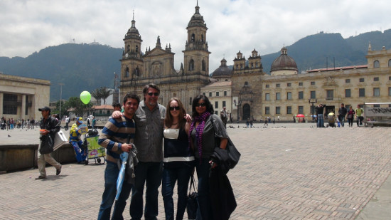 Jaime Tenorio, Steve Peters, Caitlin Burns and Lina Srivastava in Plaza de Bolívar, Bogota, Columbia.