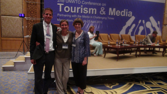 Daniel Noll, Audrey Scott and Erica Hargreave in Marsa Alam after their talk at the UNWTO Conference on Partnering with Media in Challenging Times