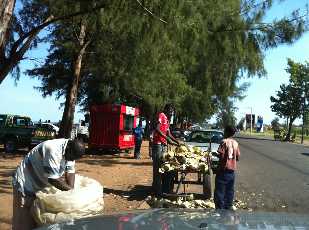 Coconut water vendors in Maputo, Mozambique