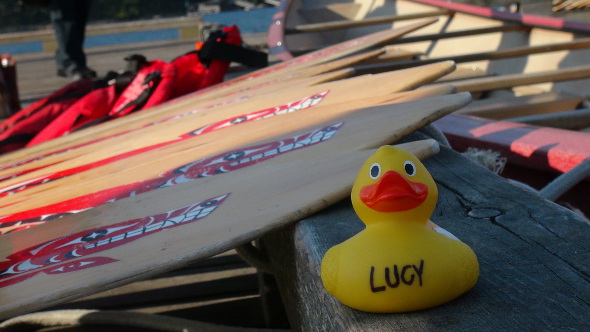 Lucy Duck on a First Nation's paddle.