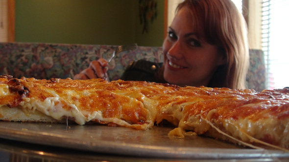 Katrina German and one scrumptious perogy pizza.