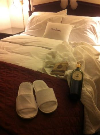 All the ingredients for a goodnight sleep before my flight at DoubleTree by Hilton. (wine brought by me)