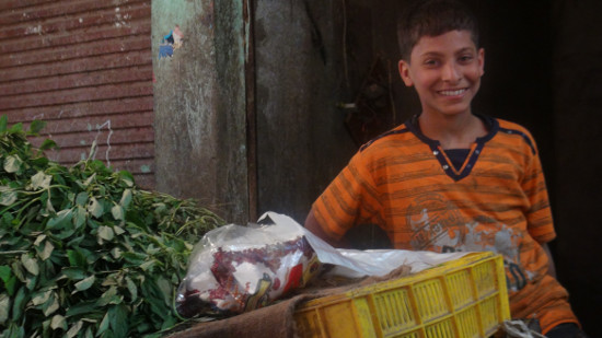 Welcomed by a warm smile from a boy in the market in Hurghada.