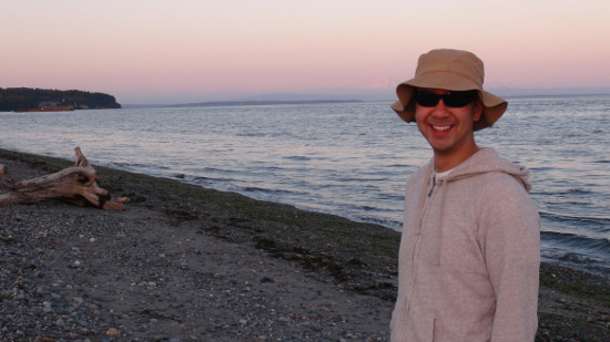 Enjoying a sunset stroll at Point Roberts with Andrew.