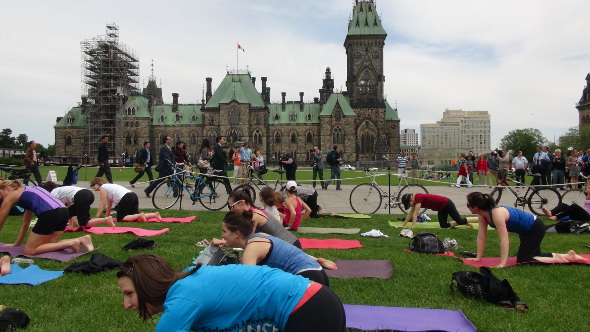 Yoga and Justin Trudeau on Parliament Hill