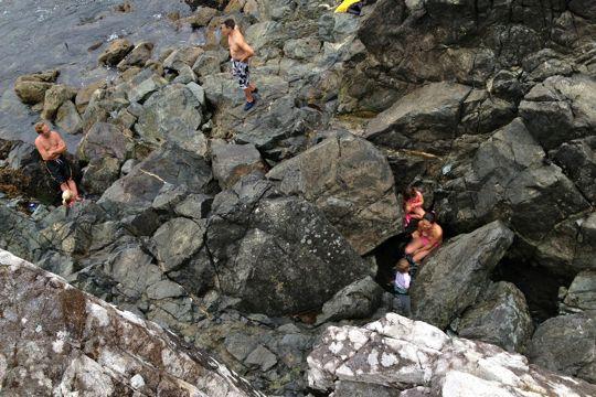 Enjoying the hot water at Hot Springs Cove, Tofino, BC.