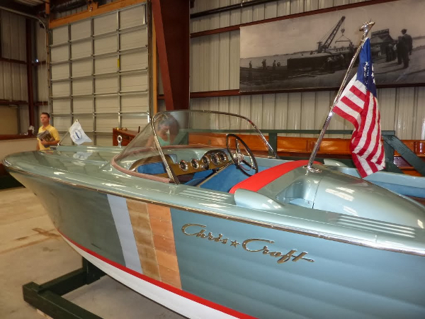 Jazzy Chris Craft at the Antique Boat Museum in Clayton, New York.