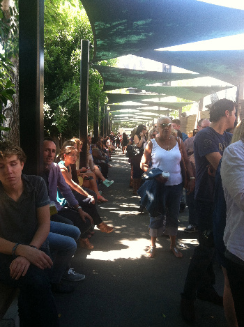 Waiting in line to see Chelsea Lately. (Nice of them to provide us with some shade!)