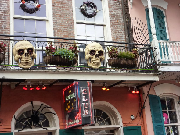 New Orleans French Quarter club with skeleton masks