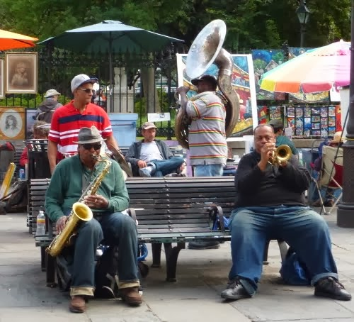 Musicians on Jackson Square in New Orleans French Quarter