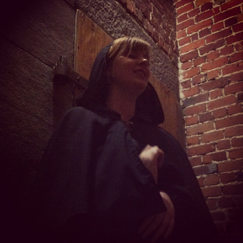 Alison of The Haunted Walk telling Ottawa Ghost Stories in the old Carleton County Jail