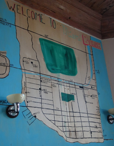 Painted map on the wall at Freehand Miami.