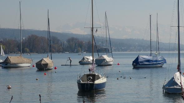 Beautiful Spring day, lakeside in Zurich, Switzerland