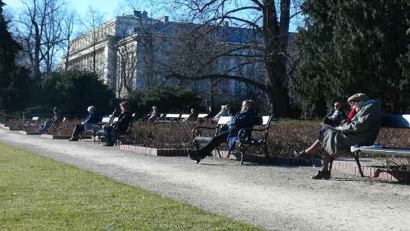 Enjoying the sun and green grass in Warsaw