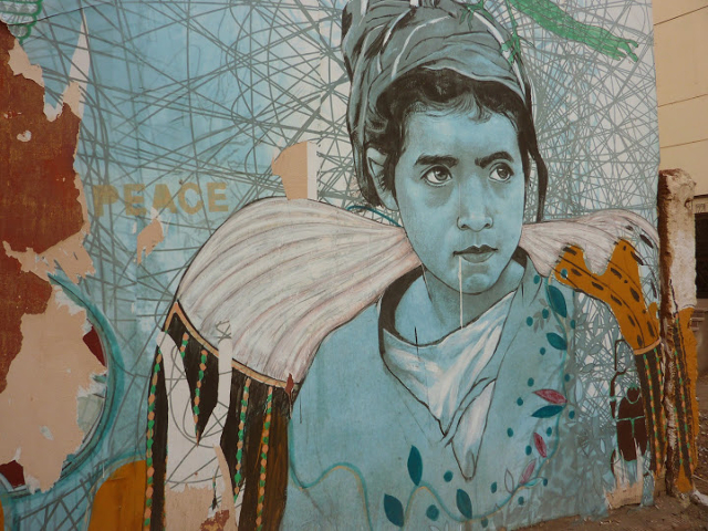Mural by Amrar Abo Bakr at German House in Luxor, Egypt