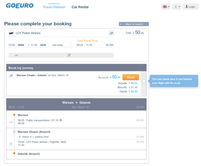 GoEuro Booking