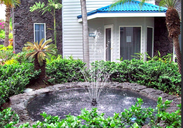 If you place a water fountain close enough to your house, you could sit inside by the window and enjoy the sounds. Photo by Just Me Julie.