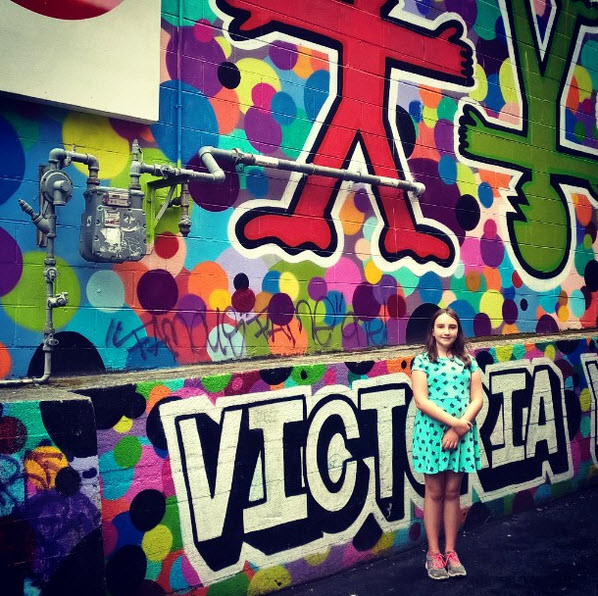 the girl in victoria wall mural
