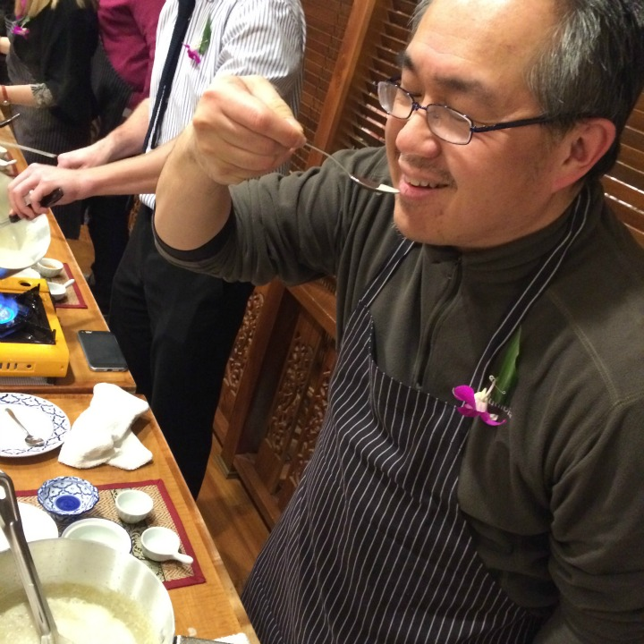 Henry Lee tasting our Thai Green Curry!