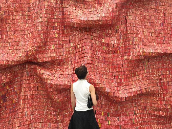 red fabric art