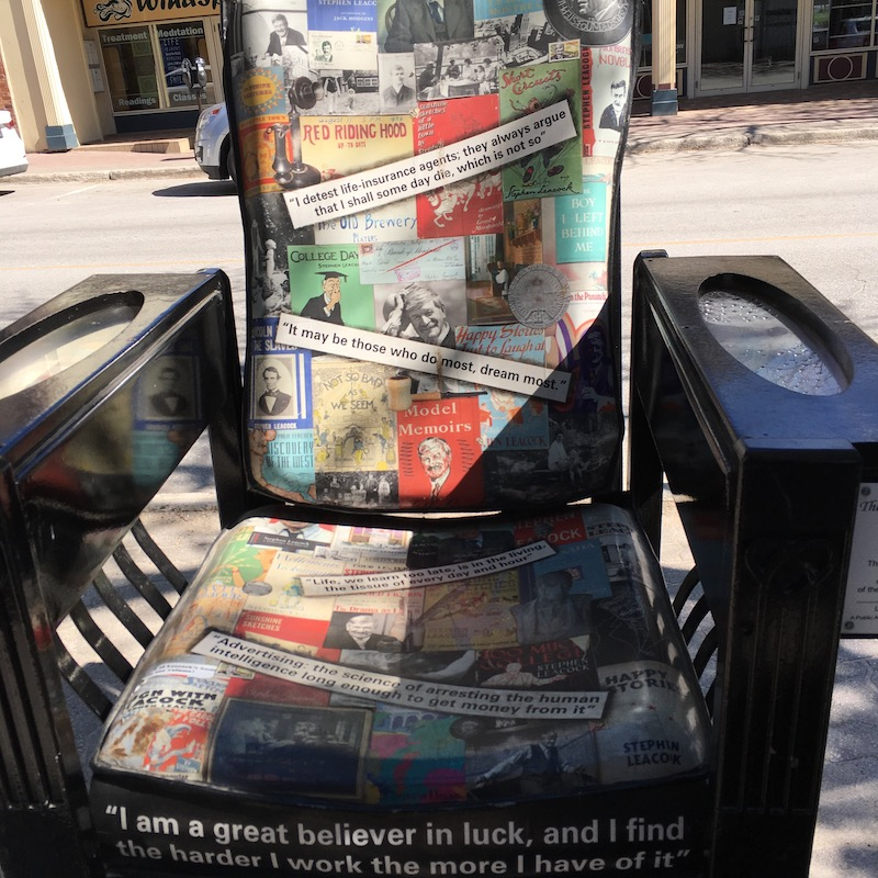 Stephen Leacock chair, one of the works of art from Orillia's Streets Alive! festival