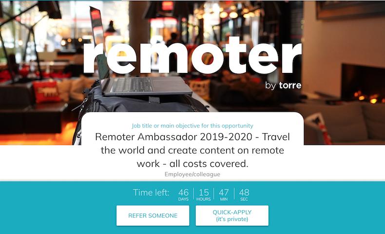 Torre Remoter Ambassador - Best Job Ever